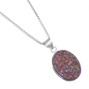 Fabulous Sterling Silver Jewellery: Oval Purple Druzy Pendant