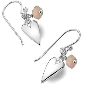 Sterling Silver Jewellery: Rose Quartz Bead and Silver Heart Drop Earrings