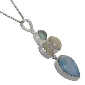 Stunning Sterling Silver Jewellery: Chunky Unique Blue Topaz, Moonstone, Larimar and Freshwater Pearl Pendant-