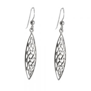 Sterling Silver Jewellery: Teardrop Shaped Celtic Weave Earrings