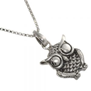 Sterling Silver Jewellery: Feather Detail Owl Pendant