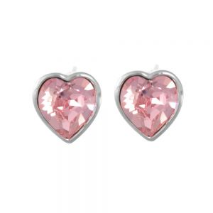 Sterling Silver Jewellery: Gorgeous Pale Pink Swarovski Loveheart Stud Earrings