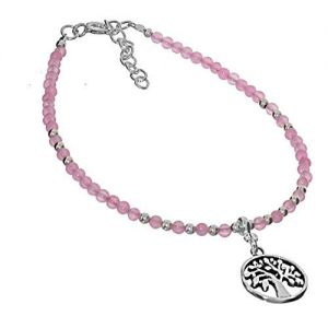 Sterling Silver Jewellery: Rose Quartz Beaded Bracelet with Tree of Life Charm (16.5cm/2.5cm Extension) (B32b)