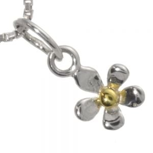 Pretty Sterling Silver Jewellery: Tiny Silver and Gold Daisy Pendant