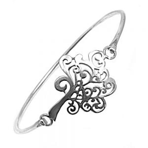 Sterling Silver Decorative Tree Bangle