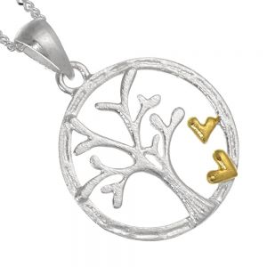 Framed Sterling Silver and Gold Tree with Hearts Pendant