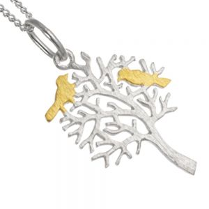 Pure Origins Sterling Silver Jewellery: Beautiful Tree Pendant with Gold Birds