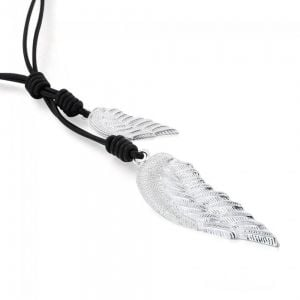 LONG NECKLACE WITH TWIN ANGEL WING SILVER CHARMS