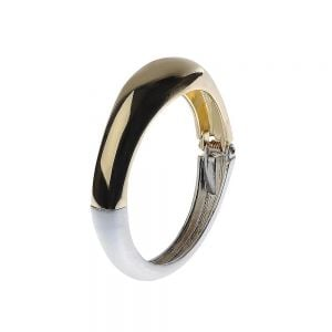Contemporary Fashion Jewellery: Hinged Matt Silver and Shiny Gold Tone Bangle (5cm x 6.2cm) (M297)B)