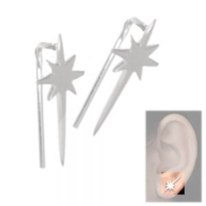 Contemporary Sterling Silver Jewellery: Shooting Star Ear Crawlers (7mm x 15.5m) (E254)
