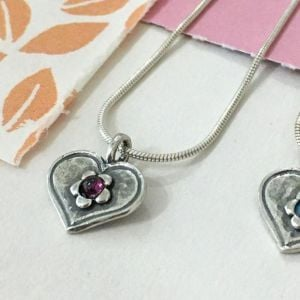 sterling silver Garnet Flower and Heart Pendant