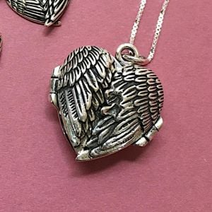 sterling silver angel wings, love heart quote locket, free delivery, rue b Sterling Silver Winged Locket with Love affirmations Quote pendant, 925 sterling silver jewellery in york