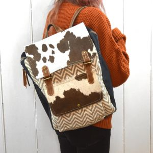 Handcrafted Bhrayna Bags: Zig Zag Print Canvas and Cowhide Backpack (BG9)