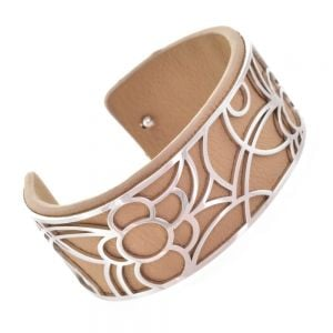 Fun Fashion Jewellery: 2.5cm Tall Flexible Silver Floral Cuff with Removable Coffee Brown Rubber Insert (5cm x 5.5cm) (YK35)B)