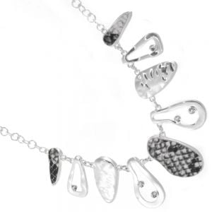 Striking Fashion Jewellery: Hammered Silver, Crystal and Black and White Snake Print Necklace (YK317)A)