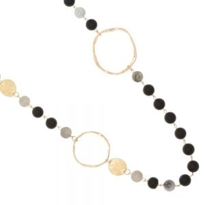 Boho Fashion Jewellery: 96cm Long Necklace with Worn Gold Metallic Circles and Coins and Black and Grey