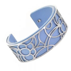 Fun Fashion Jewellery: 2.5cm Tall Flexible Silver Floral Cuff with Removable Blue Rubber Insert (5cm x 5.5cm) (YK35)A)