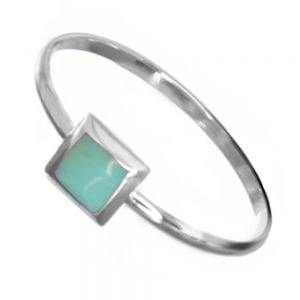 Sterling Silver Jewellery: Simple Stacking Ring with 7mm Turquoise Square Design (SR207)