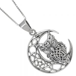 Magical Sterling Silver Jewellery: Celtic Owl on Crescent Moon with Pentagram Pendant (26mm x 37mm) (N209)