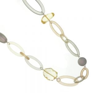 Statement Fashion Jewellery: 101cm White Cord Necklace with Earth Tone Oval Links and Citrine Hued Crystals (EV24)
