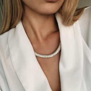Fabulous Costume Jewellery: Simple Silver Crystal Necklace with Magnetic Clasp