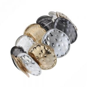 Contemporary Fashion Jewellery: Chunky Worn Silver, Gold and Black Hematite Bracelet with Hammered Rounded Shapes (M250)B)