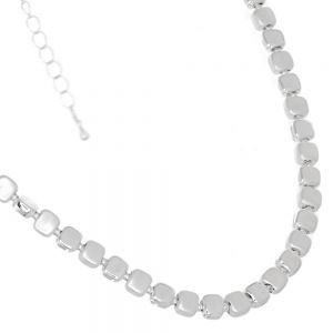 Classic Fashion Jewellery: Simple Snake Chain Necklace with Small Square Beads in Alternating Matte and Shiny Silver Tones (GR38)A)