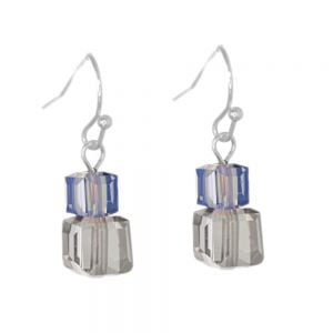 Gracee Fashion Jewellery: Delicate Earring with Blue and Clear Crystal Cubes (23mm x 7mm) (GR59)
