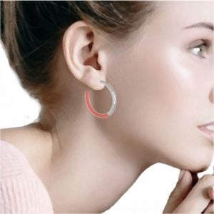 Contemporary Fashion Jewellery: Chunky 3.5cm Silver and Pink 3/4 Hoop Earrings (I52)F)