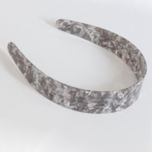 Mathilda Collection: Grey Marbled Wide Resin Headband (H26)A)