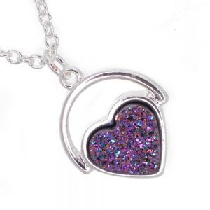 Shimmer* Fashion Jewellery: Delicate 40cm Chain with Iridescent Dark Purple Druzy Heart (M168)A)