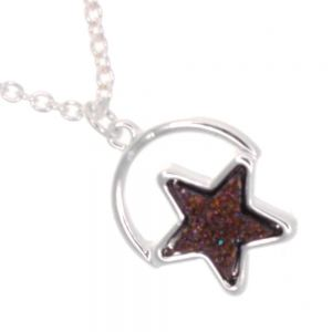 Celestial Fashion Jewellery: Delicate 40cm Chain with Iridescent Purple Druzy Star (M191)A)