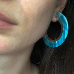 Anne Collection: Statement Blue Resin 3/4 Hoop Earrings (BM16)A)
