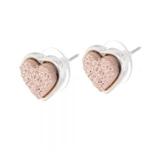 Lovely Fashion Jewellery: Pretty 1cm Iridescent Peach Champagne Druzy Heart Stud Earrings (M238)B)