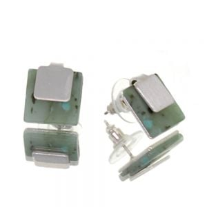 Contemporary Fashion Jewellery:  1.2cm Layered Square Studs with Matt Silver and Mint Green Speckled Stone (I45)