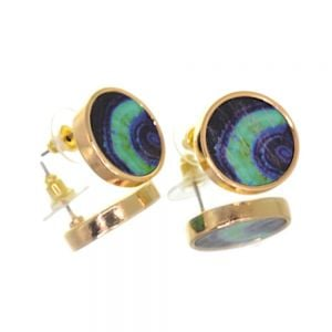 Contemporary Fashion Jewellery:  1.8cm Gold and Wooden Navy/Blue/Green Chunky Circle Stud Earrings (I46)B)