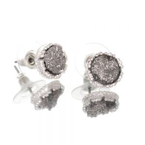 Beautiful Fashion Jewellery: Small and Delicate Grey Druzy and Silver Tone Stud Earrings [1cm Diameter] (I33)C)