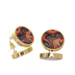 Contemporary Fashion Jewellery:  1.8cm Gold and Orange/Red Marbled Look Chunky Circle Stud Earrings (I46)C)