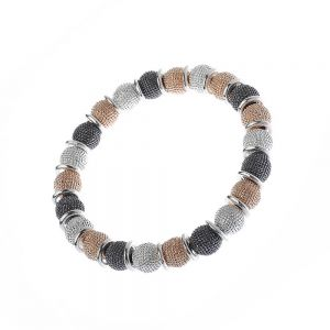 Gorgeous Fashion Jewellery: 5cm Stretch Bracelet with Textured Gold, Silver and Black Hematite Tone Beads (M483)