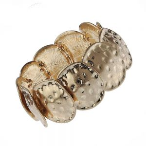 Contemporary Fashion Jewellery: Chunky Worn Gold Bracelet with Hammered Rounded Shapes (M250)C)
