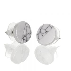 Colourful Fashion Jewellery: Small Matt Silver and White Howlite Acrylic Circle Stud Earrings (1.2cm) (I16)H)
