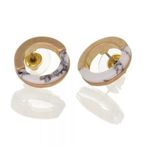 Contemporary Fashion Jewellery:  1.5cm Half Matt Gold and Half White Howlite Circle Studs (I30)E)
