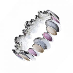 Pretty Fashion Jewellery: 5.5cm Stretch Bracelet with Pastel Pink, Peach and Grey Ovals (M32)