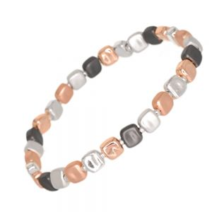 Gracee Fashion Jewellery: Stretch Bracelet with Dimpled Shiny and Matt Silver, Hematite and Rose Gold Tone Beads (GR126)A)