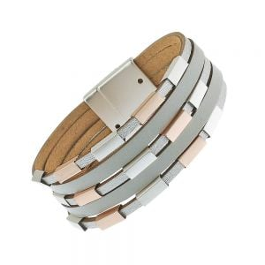 Faux Leather Fashion Jewellery: Magnetic Multi-Strand Bracelet with Rose Gold and Silver Beads (M69)