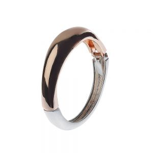 Contemporary Fashion Jewellery: Hinged Matt Silver and Shiny Rose Gold Tone Bangle (5cm x 6.2cm) (M297)C)