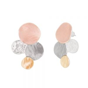 Unusual Fashion Jewellery: Stud Earrings with Multi-Tone Bubbles (m64)