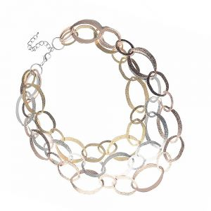 Contemporary Fashion Jewellery: Mid-Length Necklace with Hammered Rose Gold, Gold and Silver Oval Links (M484)