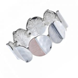 Contemporary Fashion Jewellery: 2.3cm Tall Stretch Bracelet with Matt White, Grey and Peach and Shiny Silver Circles (M359)