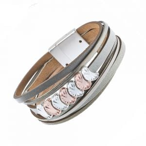 Faux Leather Fashion Jewellery: Magnetic Olive and Grey Tone Bracelet with Rose Gold and Silver Crescents (M248)